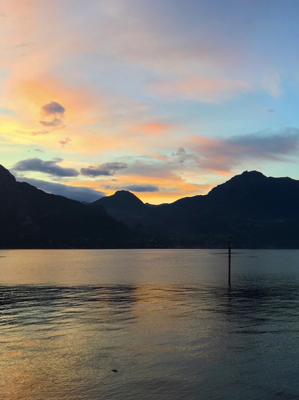 Colors of the mountains and the Lake Como the sunset on the Lake Como