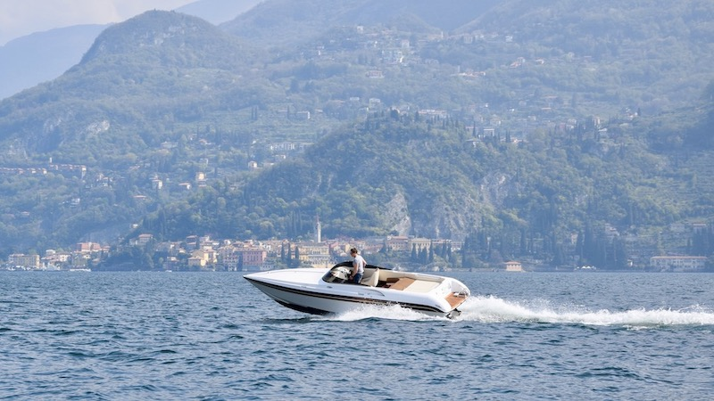Bellagio boat charter tour in front of Varenna